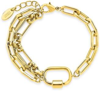 Sterling Forever 14K Gold Plated Chain Link Carabiner Bracelet