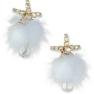 Mignonne Gavigan Fields Pompom Mink Fur Earrings