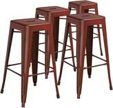 Flash Furniture High Backless Distressed Kelly Metal Indoor Barstool (4 Pack)