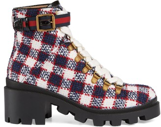 Gucci Check tweed ankle boot