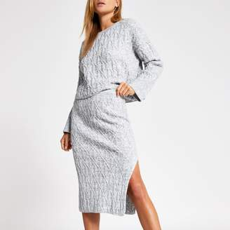 River Island Womens Grey cable knit midi skirt