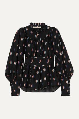 ANNA MASON Kasia Belted Fil Coupe Organza Blouse - Black