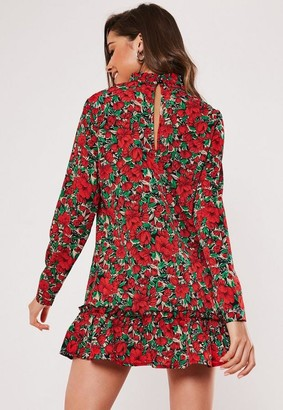 Missguided Petite Red Floral High Neck Drop Waist Loose Fit Smock Dress