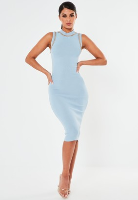 Missguided Blue Chain Trim Knitted Midaxi Dress
