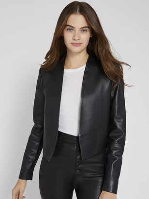 Alice + Olivia HARVEY OPEN FRONT LEATHER JACKET