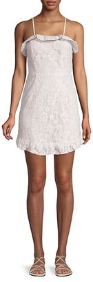 BCBGeneration Ruffle Hem Mini Lace Sheath Dress