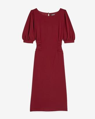 Express Cinched Waist Puff Sleeve Sheath Dress