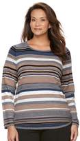 Croft & Barrow Plus Size Striped Textured Sweater