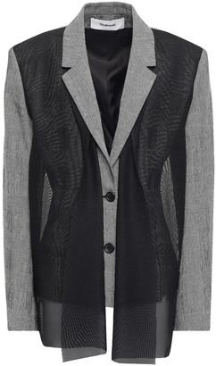 Chalayan Mesh-paneled Checked Cotton-blend Blazer