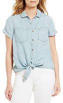 Intro Petites Short Sleeve Button Down Tie-Front Denim Top