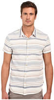 Lucky Brand Short Sleeve Verrigated Striped Button Down
