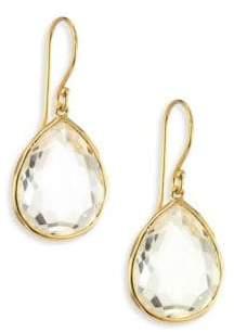 Ippolita Rock Candy Gelato Clear Quartz& 18K Yellow Gold Medium Teardrop Earrings