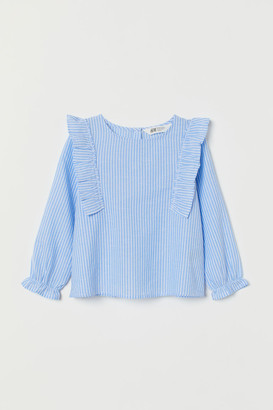 H&M Ruffle-trimmed Blouse - Blue