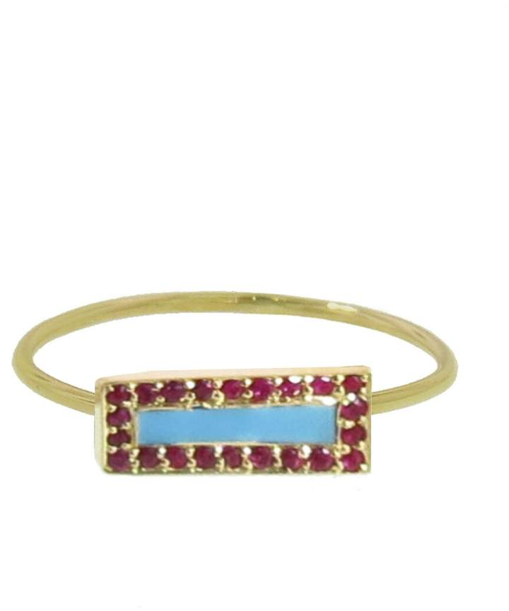 Jennifer Meyer Ruby and Turquoise Inlay Bar Ring