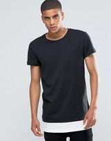 Selected Crew Neck T-Shirt with Contrast Drop Hem