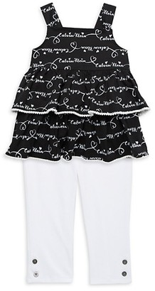 Calvin Klein Little Girl's 2-Piece Ruffle Top Leggings Set