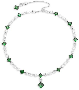 Adriana Orsini Azlyn Rhodium-Plated Sterling Silver, Clear & Green Cubic Zirconia Collar Necklace