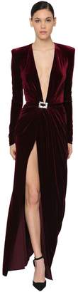 Alexandre Vauthier Long V Neck Draped Stretch Velvet Dress