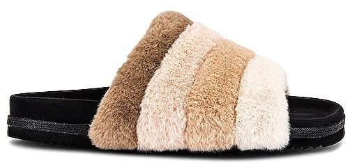 Womens//Ladies Open Toe Faux Fur Slide On Slippers SL543