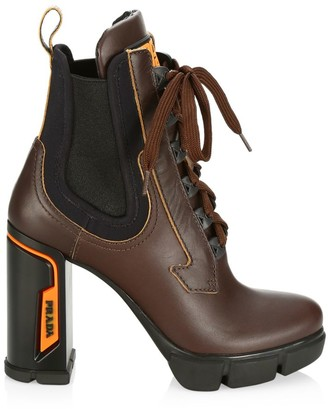 Prada Lug-Sole Lace-Up Leather Chelsea Boots