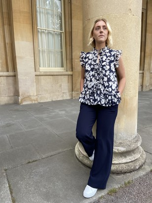 Somerset by Alice Temperley Block Floral Blouse, Navy