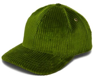 Ami Logo-embroidered Cotton-corduroy Baseball Cap - Mens - Green