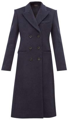 Isabel Marant Roleen Double Breasted Wool Blend Coat - Womens - Navy