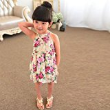 Hot Baby Dress! AMA(TM) Toddler Kids Baby Girls Floral Sleeveless Princess Party Tutu Dresses Clothes (6/7T, Beige)