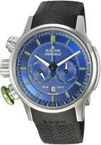 Edox Men's 10302 3V2 BUV3 Chronorally Analog Display Swiss Quartz Black Watch