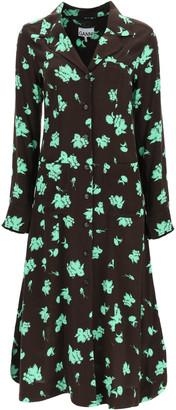 Ganni PRINTED SHIRT DRESS 36 Brown, Green