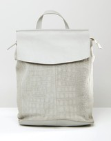 Asos Soft Leather And Suede Croc Embossed Backpack