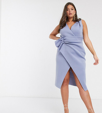 ASOS DESIGN Curve plunge tuck wrap midi dress in blue