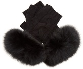 Yves Salomon Fur-trimmed fingerless wool-blend gloves