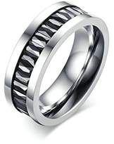 KnSam Couple Wedding Bands Stainless Steel Crystal Rhinestone Silver Black Size 12 [Novelty Rings]