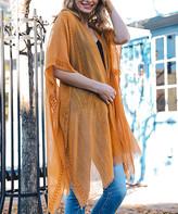Leto Collection Women's Kimono Cardigans CAMEL - Camel Sheer Fringe-Trim Kimono - Women