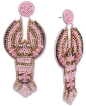 Betsey Johnson Two-Tone Beaded Lobster Drop Earrings