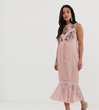 Hope & Ivy Maternity embroidered lace ruffle pencil dress with ruffle hem in pink