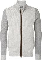 Barba ribbed knit zipped sweatshirt