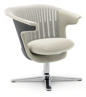 Steelcase i2i Leather Guest Chair Metal Back Finish: 3D Knit - Nickel, Arm / Seat Finish: Connect - Coconut, Frame Color: Platinum, Casters/Glides: 2