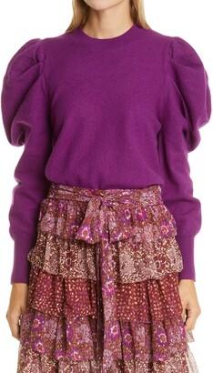 Ulla Johnson Marin Leg of Mutton Sleeve Merino Wool Sweater