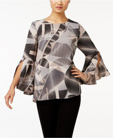 Alfani Printed Ruffle-Sleeve Top, Only at Macy's