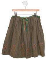 Bonpoint Girls' Linen Embroidered Skirt
