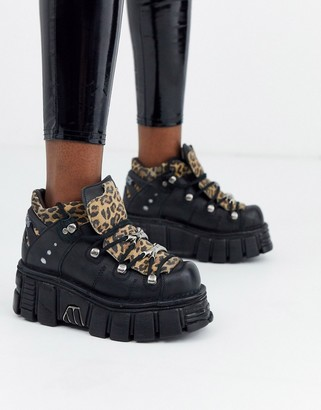 New Rock chunky leather lace up trainers in leopard-Multi