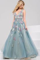 Jovani V-Neck Floral Embroided Long Dress 48433