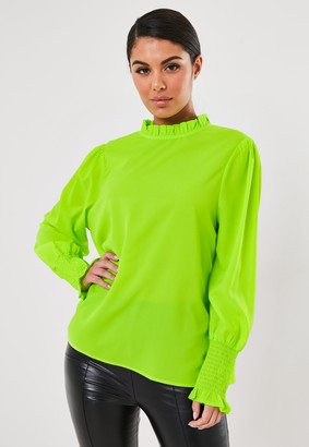 Missguided Neon Green High Collar Blouse