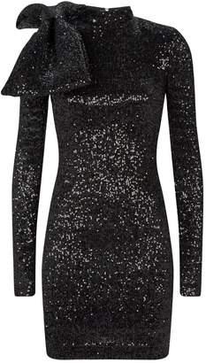 Rebecca Vallance Long Sleeve Bow-Embellished Sequin Dress