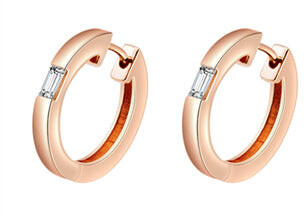 Camilla Rose Gold Diamond Huggie Earrings