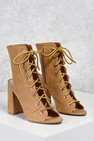 Forever 21 Lace-Up Open-Toe Boots