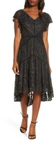Taylor Dresses Metallic Lace High/Low Dress