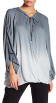 Young Fabulous & Broke V-Neck Front Tie Ombre Hooded Shirt